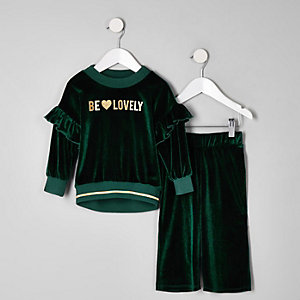 Mini girls green 'Be lovely' frill velvet jog