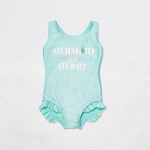 Mini - Blauw zwempak met 'Mermaid at heart'-print voor meisjes