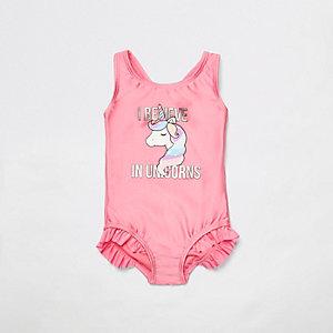 Maillot une-pièce à imprimé licorne rose pour mini fille