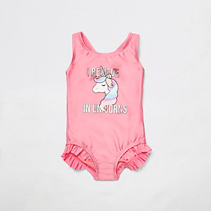 Mini - Roze zwempak met eenhoornprint voor meisjes