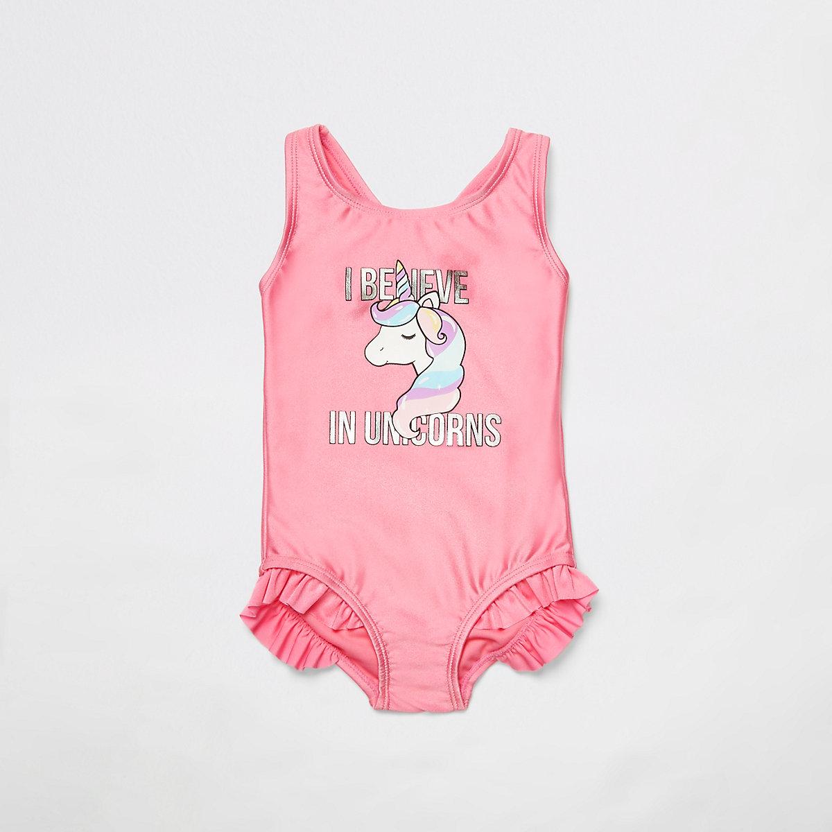 Mini girls pink unicorn print swimsuit