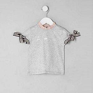 Mini - Grijs T-shirt met 'Be amazing'-print en ruches voor meisjes