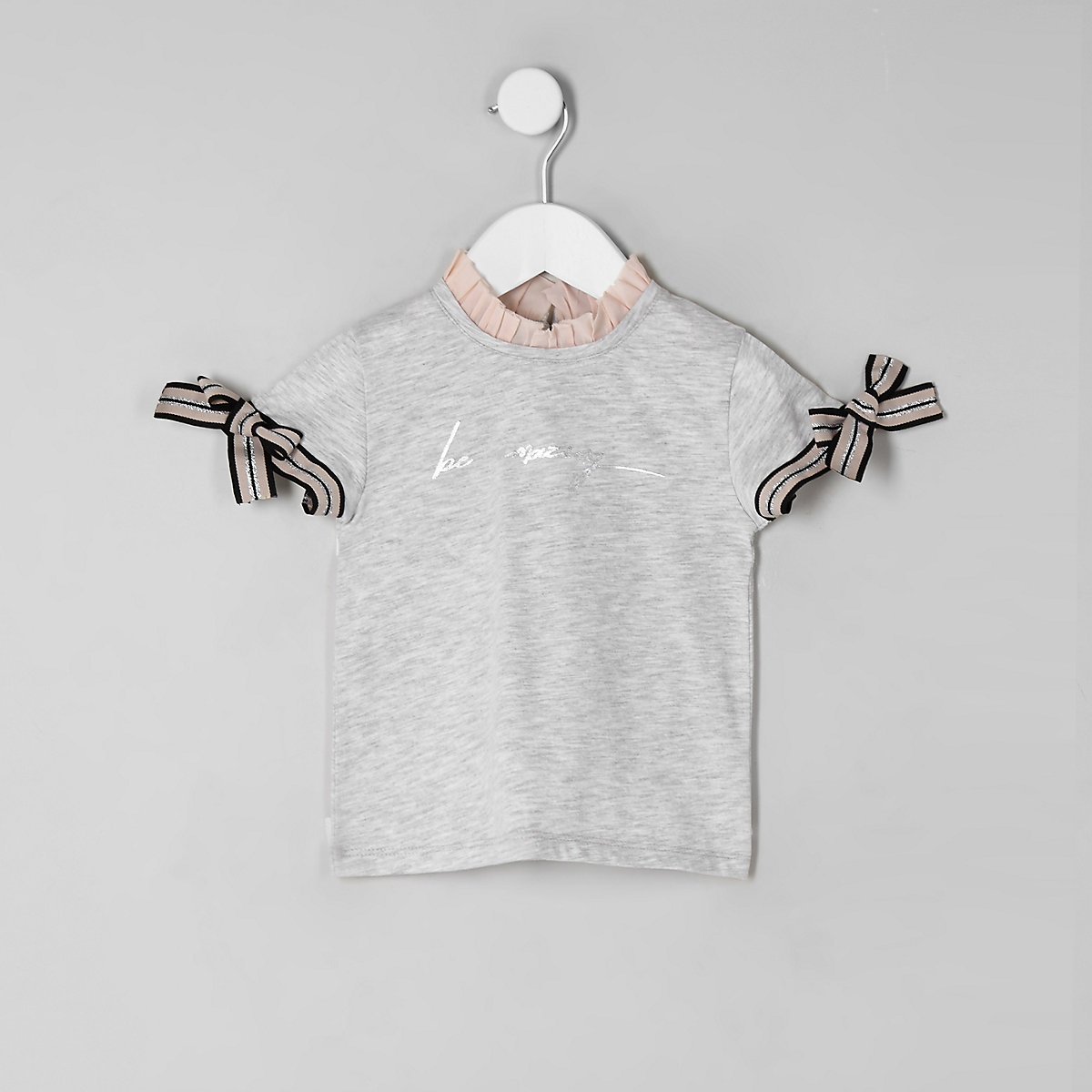 Mini girls grey 'Be amazing' frill T-shirt