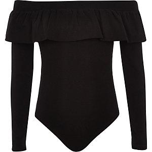 Body Bardot noir avec encolure à volants pour fille