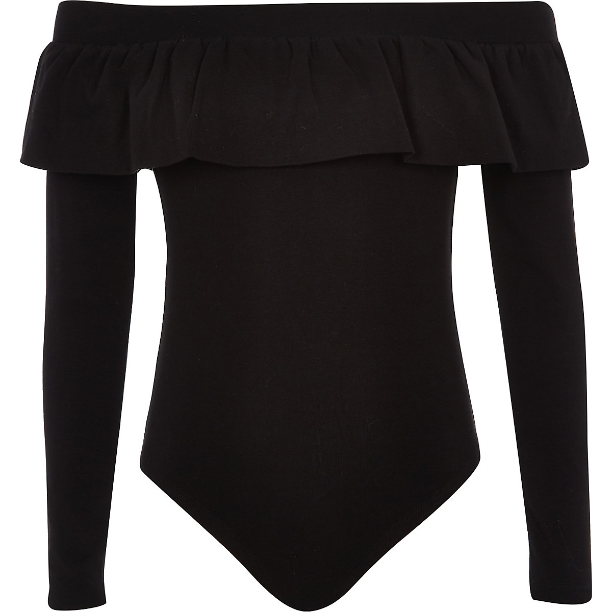 Girls black bardot neck frill bodysuit