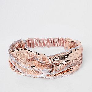 Roségoudkleurige gedraaide hoofdband met pailletten voor meisjes