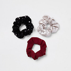 Girls black sequin hair scrunchie multipack