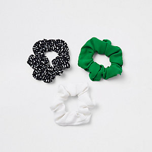 Green printed hair scrunchie multipack