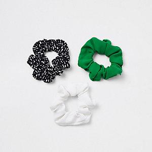Grüne, bedruckte Haargummis, Set