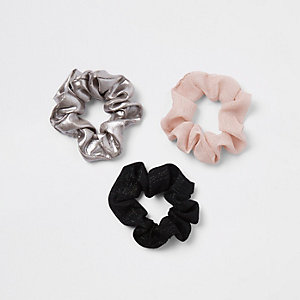 Silver metallic hair scrunchie multipack