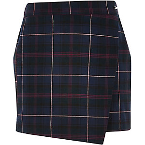 Girls purple check skort