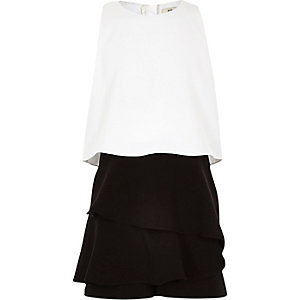 Girls white and black frill skort romper