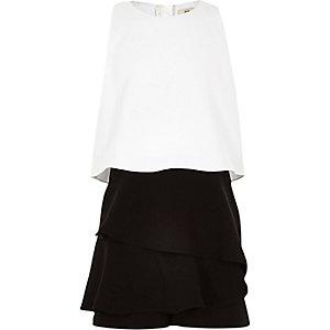Combi-short jupe-short noir et blanc à volants fille
