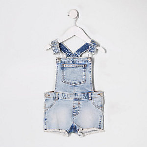Mini girls blue short denim dungarees