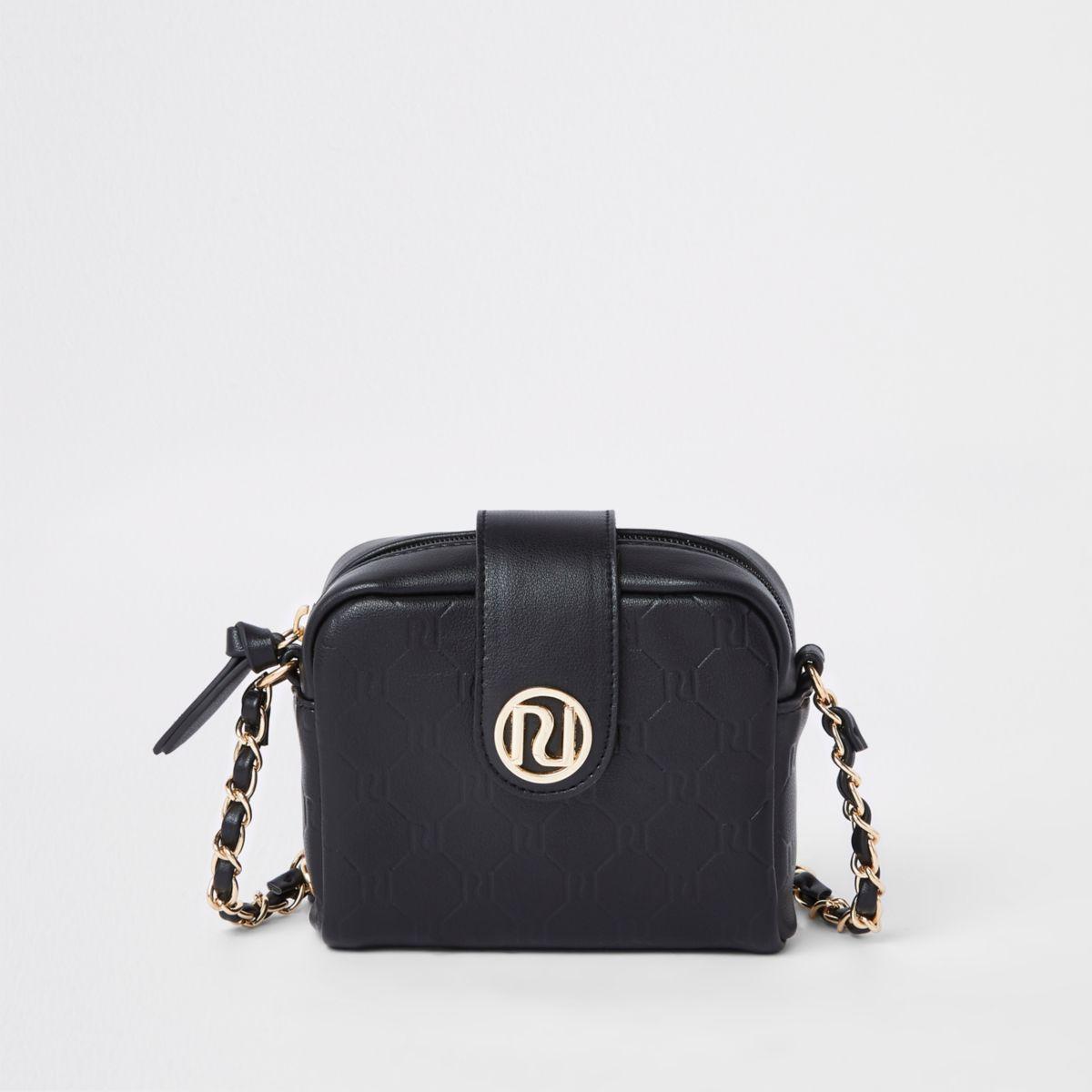 Girls black RI monogram cross body bag