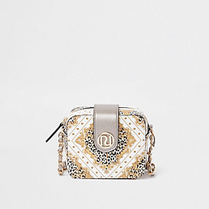 Girls white baroque print mini cross body bag