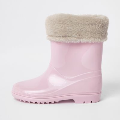 Girls Pink Contrast Faux Fur Foldover Wellies by River Island