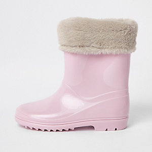 Girls pink contrast faux fur foldover rubber boots