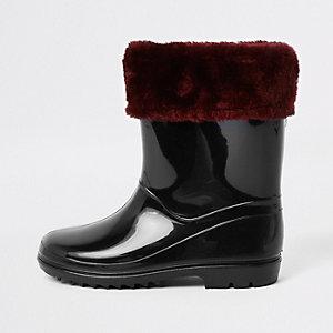 Girls black faux fur foldover rubber boots