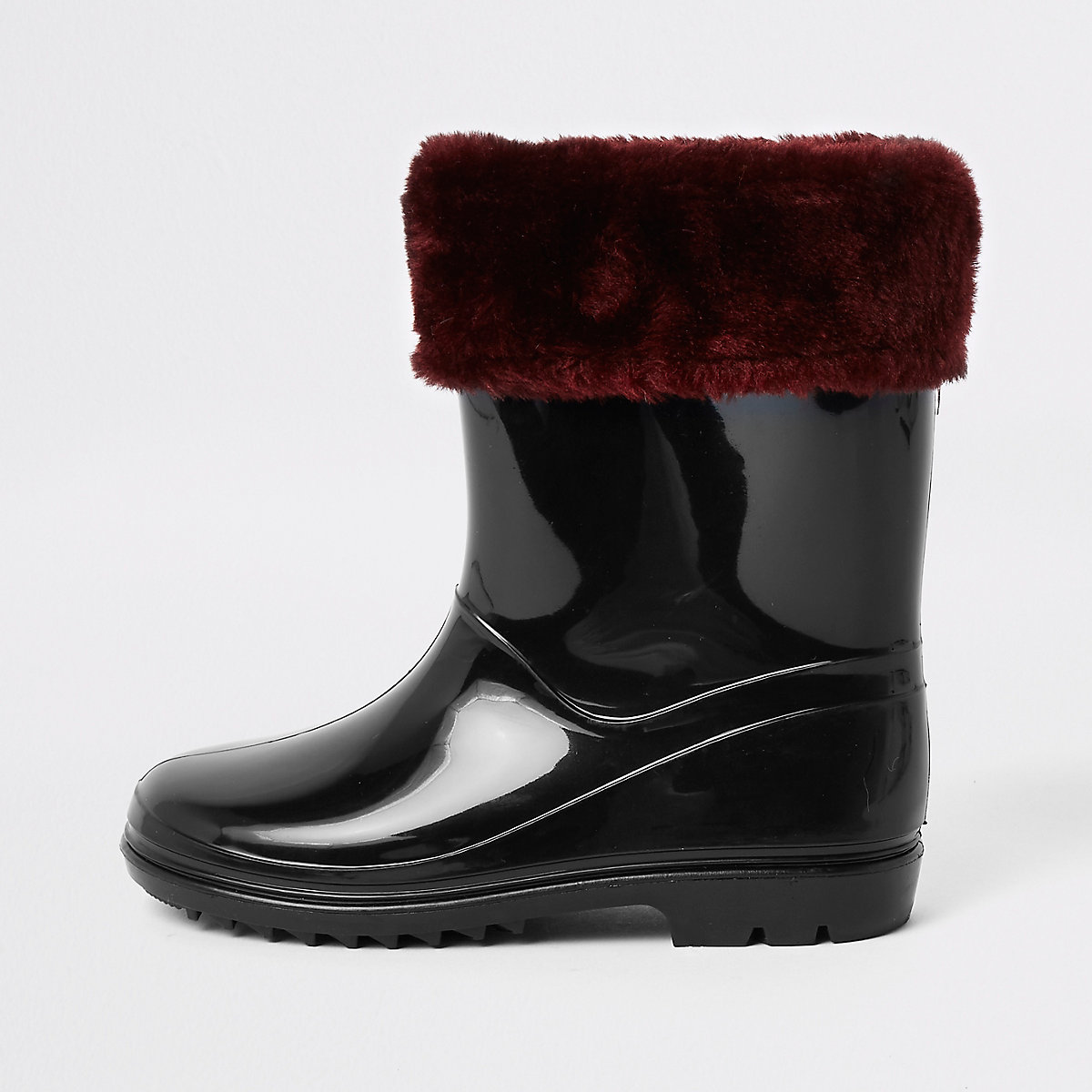 Girls black faux fur foldover rubber boots