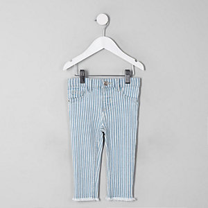 Mini girls blue stripe Molly jeggings