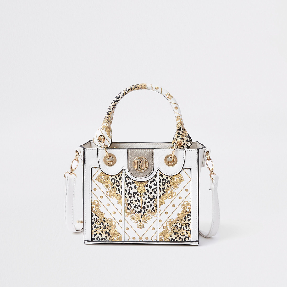 Girls white baroque print tote bag