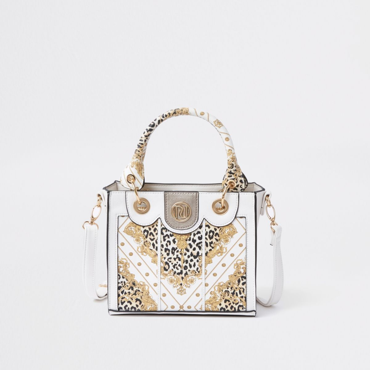 Girls white baroque print tote bag