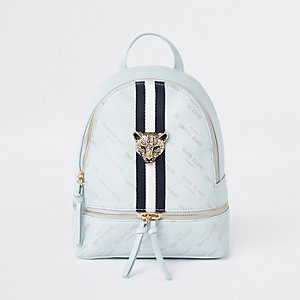 Girls blue RI leopard charm backpack