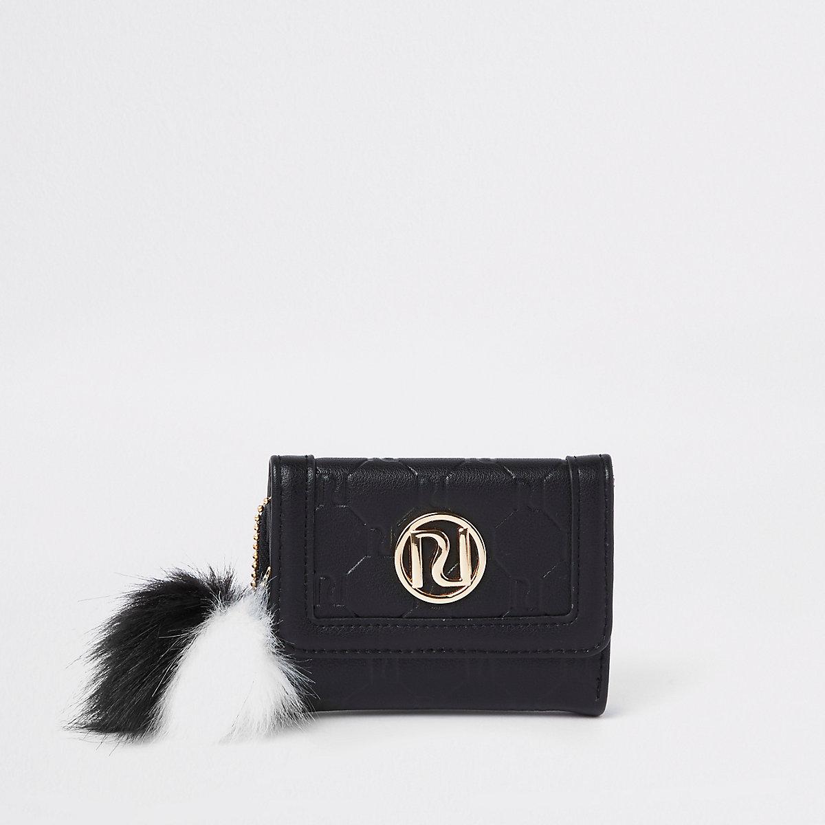 Girls black RI monogram small trifold purse