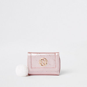 Girls pink RI monogram trifold purse