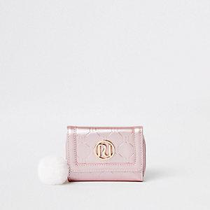 Porte-monnaie rose à trois volets avec logo RI pour fille