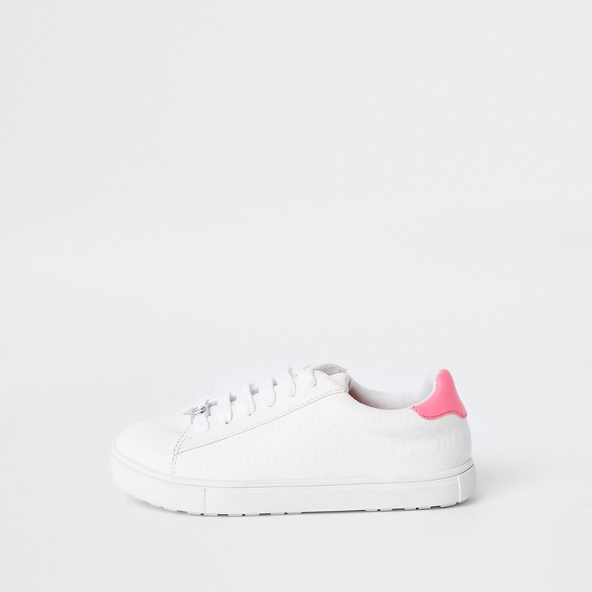 Girls white RI monogram lace-up plimsolls