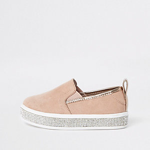 Mini girls pink rhinestone trim plimsolls