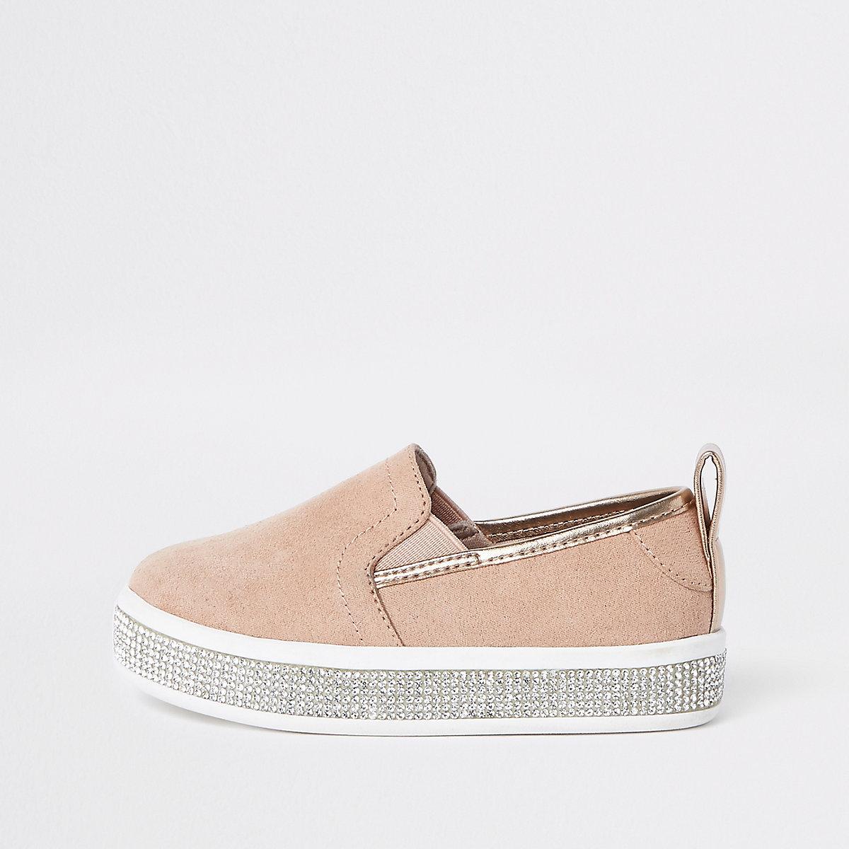 Mini girls pink rhinestone trim plimsolls