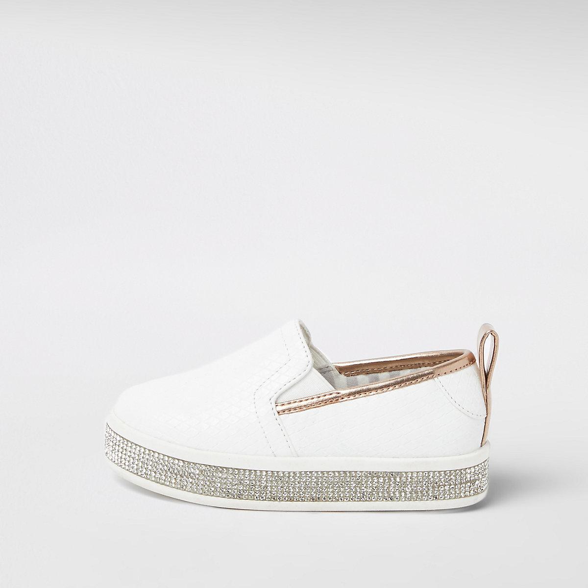 Mini girls white rhinestone trim plimsolls