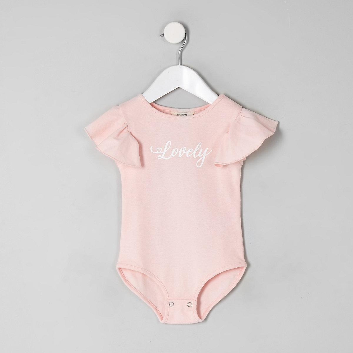 Mini girls pink 'lovely' frill bodysuit