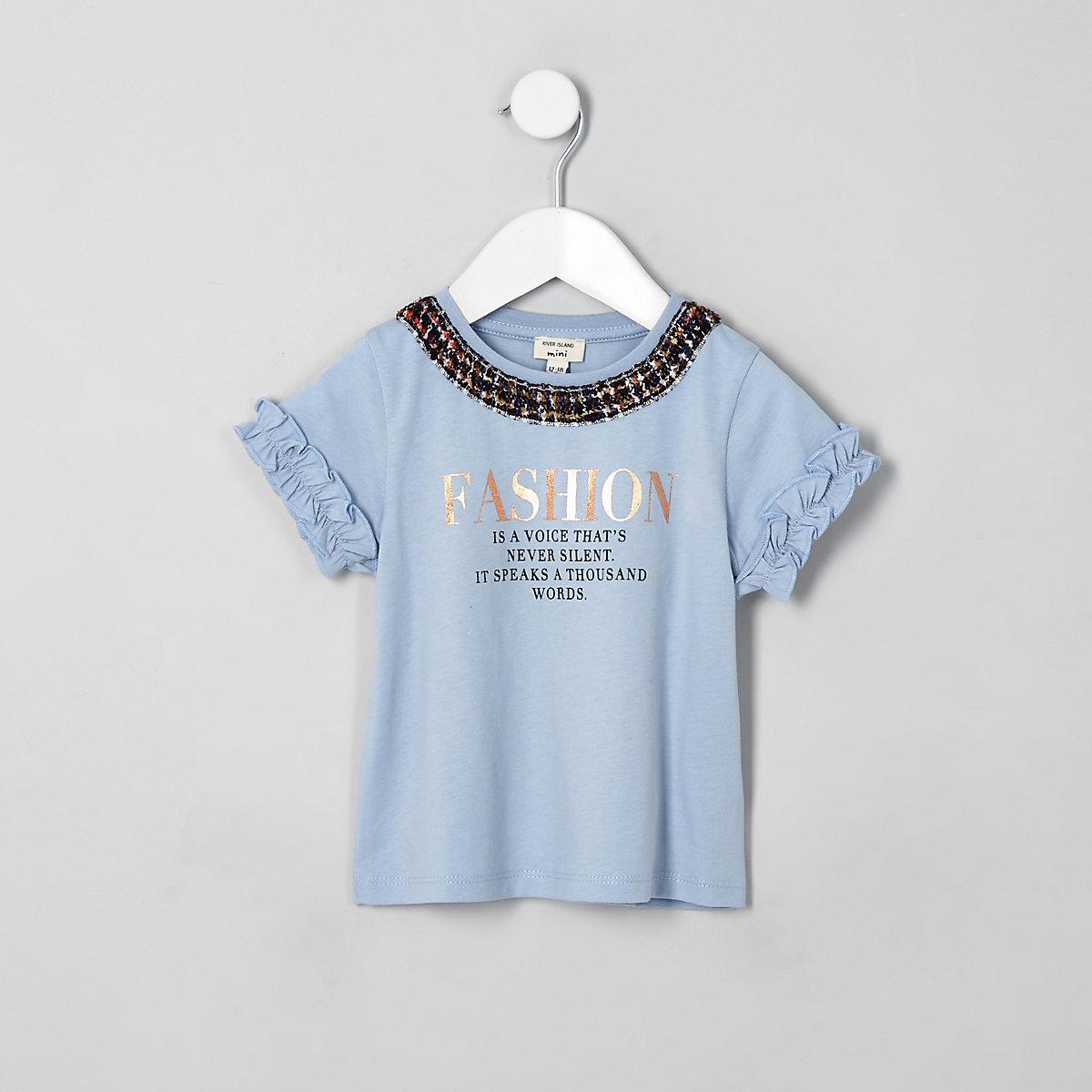 Mini girls blue 'fashion' frill T-shirt