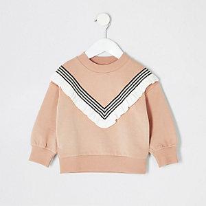 Mini - Beige sweatshirt met ruches voor meisjes