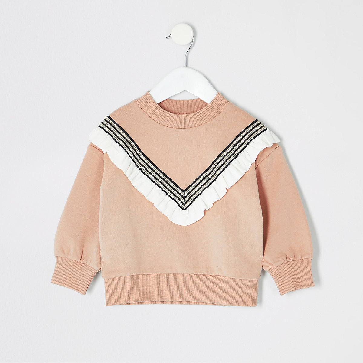 Mini girls beige frill sweatshirt