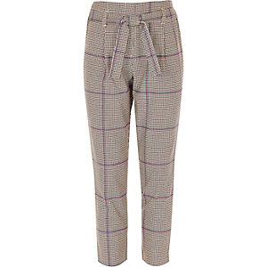 Girls purple check tie waist tapered pants