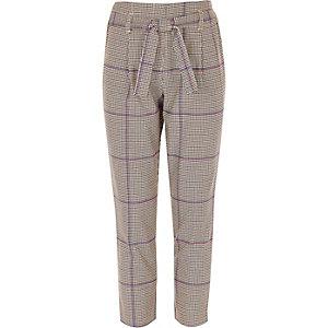 Paarse geruite smaltoelopende broek met strikceintuur voor meisjes