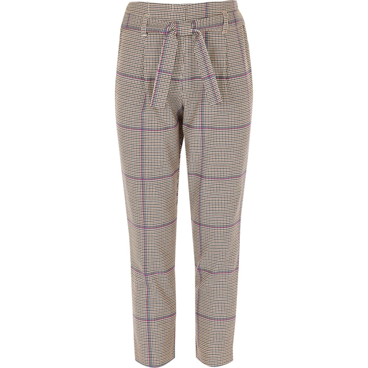 Girls purple check tie waist tapered trousers