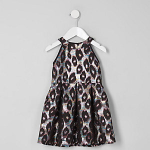Robe de gala en jacquard imprimé léopard mini fille