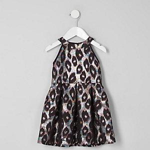 Mini - Jacquard avondjurk met luipaardprint voor meisjes