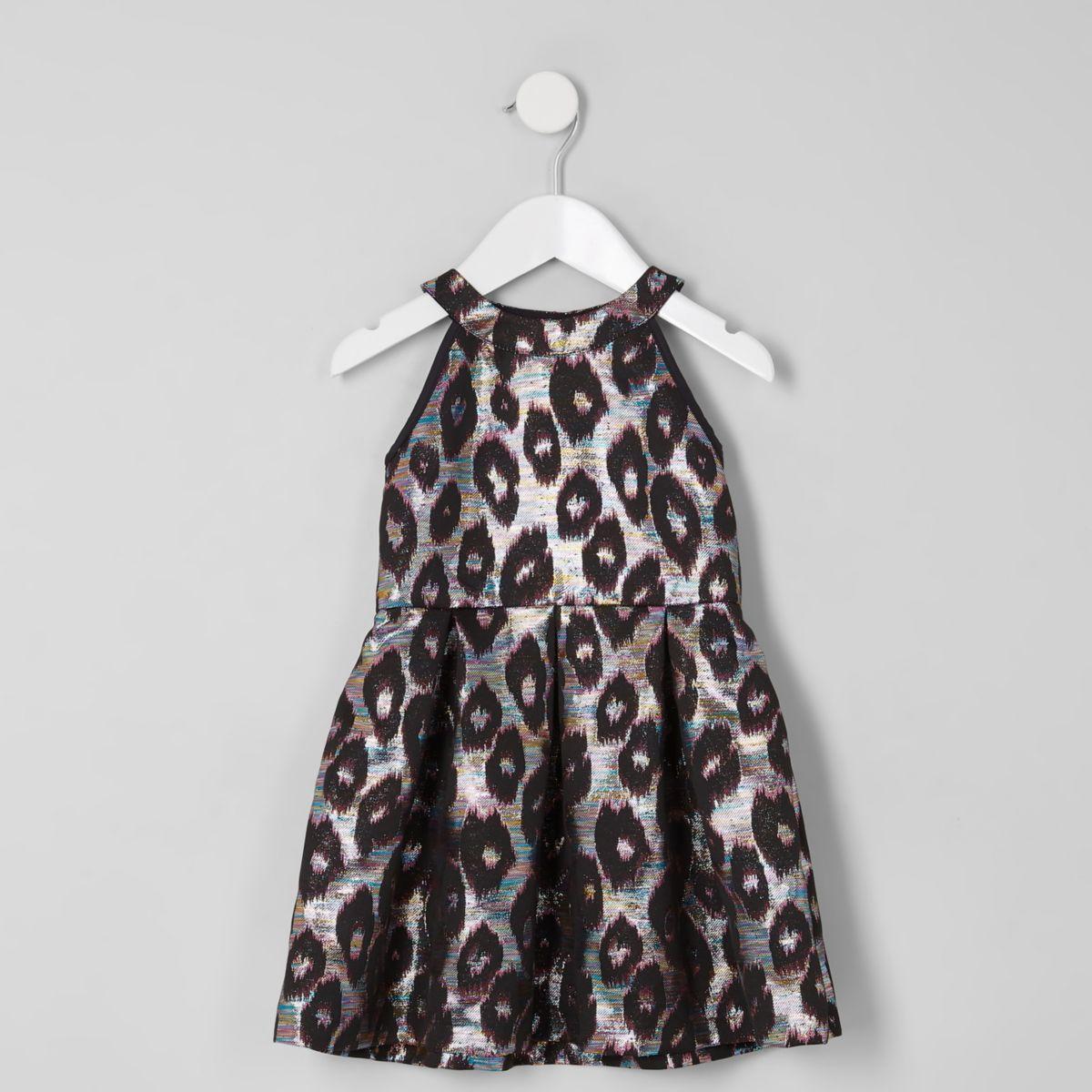 Mini girls leopard print jacquard prom dress