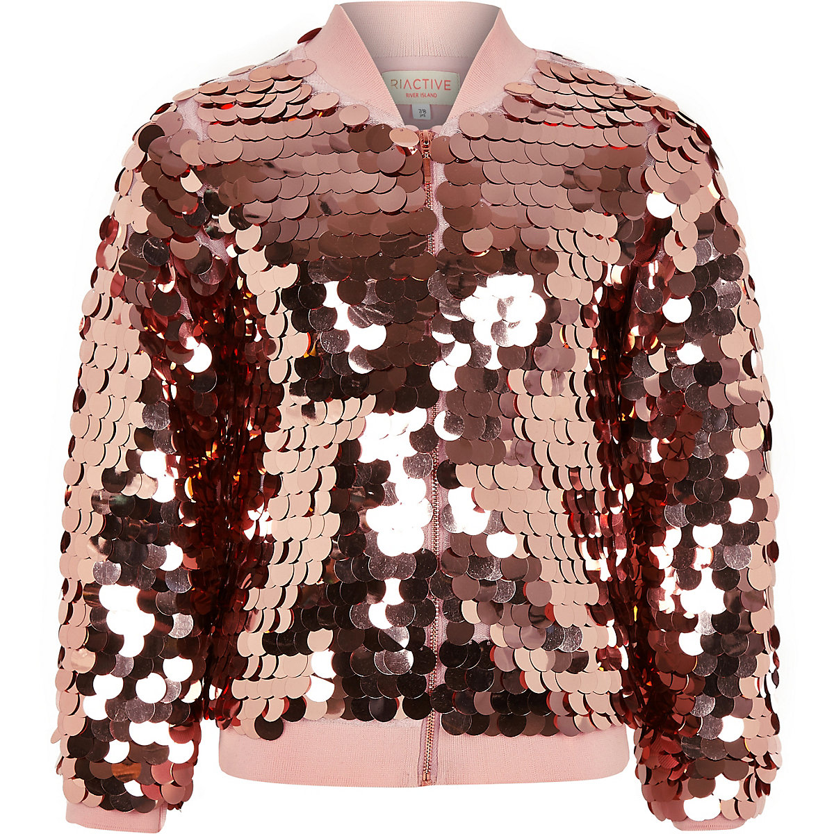 Girls RI Active gold sequin bomber jacket