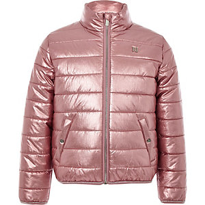 Girls pink metallic padded bomber jacket