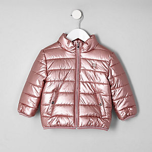 Mini girls pink metallic bomber jacket