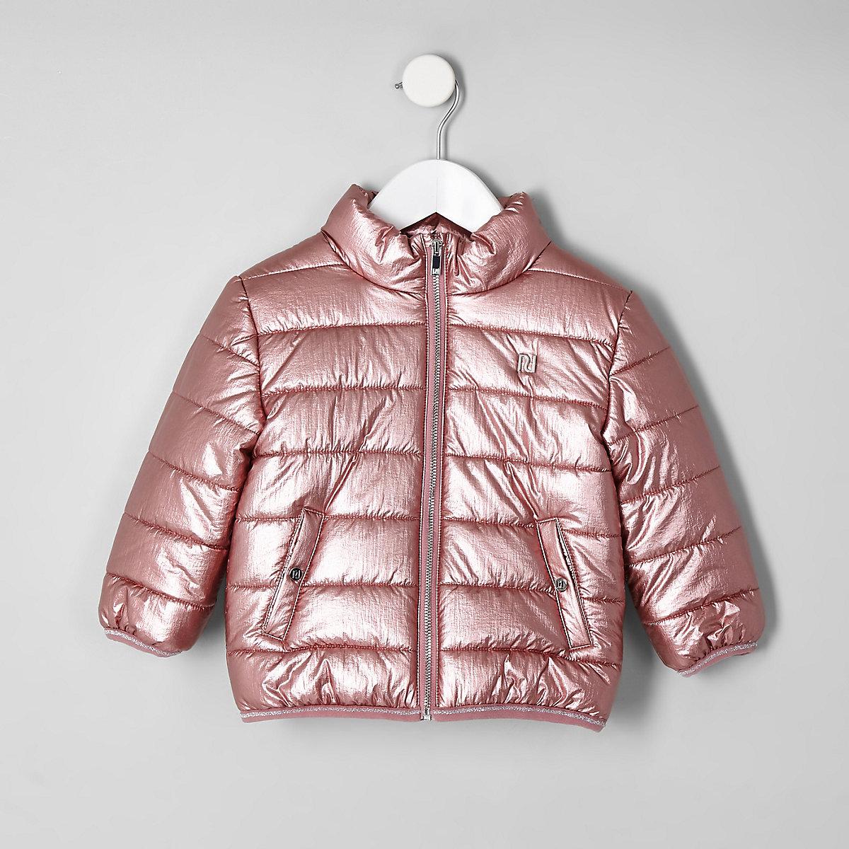 Mini girls pink metallic bomber jacket