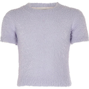 Girls purple fluffy knit T-shirt